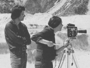 Nancy Holt on location with her husband Robert Smithson