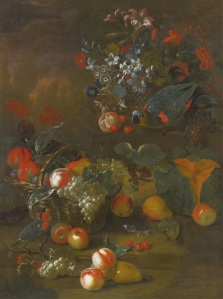 Charles Collins, Still life with two parrots, a basket of flowers, a basket of peaches and grapes, a pear and cantaloupe in front , 1741